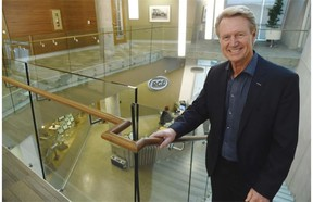 Paul Douglas, PCL's CEO, in the atrium of the company's new $22 million head office addition in Edmonton, December 12, 2014.