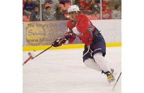 Washington Capitals star Alex Ovechkin practises at the Leduc Recreation Centre on Tuesday.