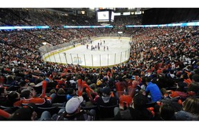 The crowd cheers on the players during the Oilers Skills Competition at Rexall Place in Edmonton on Saturday Jan. 25, 2014.