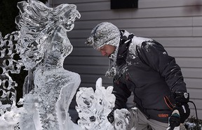 Kelly Davies created a mermaid with all of the off cut, leftover and recycled carving ice from this carving season.
