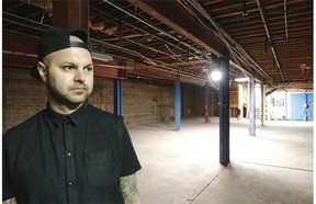 Kris Harvey stands in what will be The Chvrch of John, his new art bar in the basement of the Grand Hotel in Edmonton.