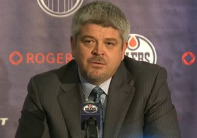 Todd McLellan speaks at a news conference May 19, 2015, announcing his hiring as the Edmonton Oilers head coach.