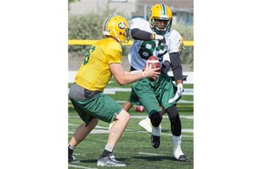Edmonton Eskimos quarterback Matt Nichols gives the ball to receiver Marcus Rucker on a running play during a training camp session at Fuhr Sports Park in Spruce Grove on June 3, 2015.