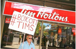 """When Tim Hortons agreed to pull in-house advertising featuring Enbridge's Northern Gateway Pipeline, a handful of Calgary protesters launched a counter-boycott, which Emma Pullman of SumOfUs.org argues was """"cooked up by Conservative pundits."""""""