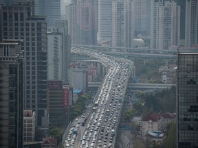 Cars on an elevated road in Shanghai.