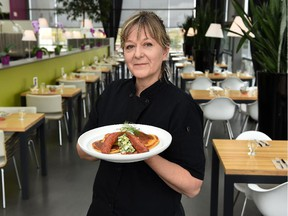 Chef Julia Kundera's savoury corn cakes are a highlight for brunch at the Glasshouse Bistro and Cafe in the Enjoy Centre.