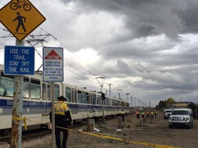 A bicyclist was seriously injured Saturday afternoon when he was struck by an LRT train.