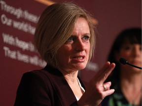 Premier Rachel Notley announces the location  for the new Calgary Cancer Centre project in the atrium of the Tom Baker Cancer Centre on Wednesday Oct. 28, 2015.
