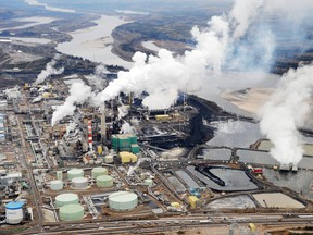 An aerial view shows the Suncor oilsands extraction facility near Fort McMurray.