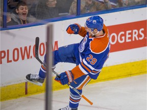Edmonton Oilers Leon Draisaitl (29) celebrates scoring the first goal of the game against the New Jersey Devils during NHL action at Rexall Place on November 20.