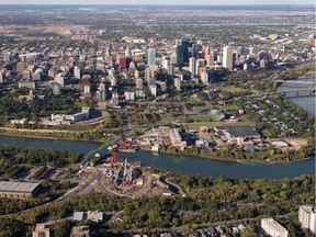 An aerial view of downtown Edmonton with the North Saskatchewan River in Edmonton on September 10, 2015.