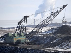 A giant drag line works in the Highvale coal mine to feed the nearby Sundance power plant near Wabamun.