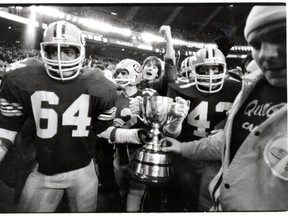 The Edmonton Eskimos have made 34 appearances at the Grey Cup - the most of any CFL team - and have won the championship 13 times. Here, the Eskimos celebrate their victory in 1981.
