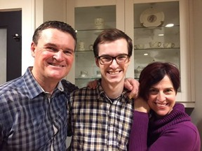 CBC broadcaster Mark Connolly and his wife Alyson with their son Jack. A video Mark shot when Jack opened Christmas presents when he was nine will be shown on British TV on Christmas Eve. Ayrton Sauve-Osinchuck