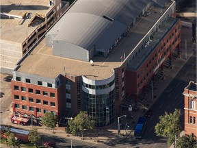 An aerial view of the Edmonton Journal building in Edmonton on September 10, 2015.
