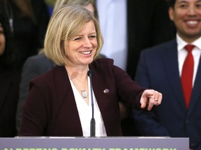Alberta Premier Rachel Notley chuckles at a question after announcing Alberta's New Royalty Framework in Calgary, Alta., on Friday, Jan. 29, 2016.