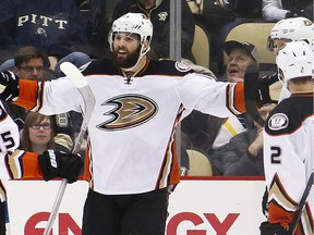 Anaheim Ducks' Patrick Maroon, center, celebrates his goal with teammates during the second period of an NHL hockey game against the Pittsburgh Penguins in Pittsburgh, Monday, Feb. 8, 2016.