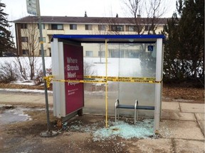 Fourteen transit shelters were vandalized Saturday. No one has been arrested.