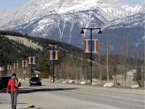 Gay pride flags adorn the main street in Jasper to celebrate the Jasper Pride Festival on March 18 to 20, 2016.