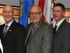 Thorhild County council members Wayne Croswell, left, Larry Sisson and Dan Buryn in a file photo.