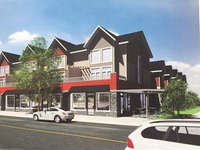 A 10-unit row housing complex proposed for West Jasper Place. The units will be built by Caliber Master Builder.