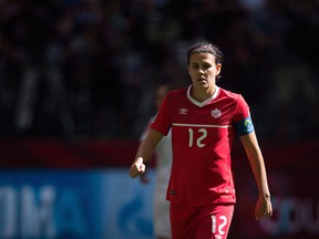 Canada's Christine Sinclair looks on during first half of the FIFA Women's World Cup round of 16 soccer action in Vancouver on June 21, 2015.