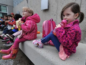 A 2013 file photo shows children from the Malmo Preschool enjoying a snack outside the Muttart Conservatory after a field trip to see Putrella, the corpse flower. Provincially funded Early Learning and Child Care Centres (ELCC) are helping to bridge financial gaps in early child care for parents in the province, says a Public Interest Alberta survey.