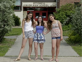 From left: Echo Morita, Trina McGuire and Eva-Marie Smith, all 14, are not happy about the dress code imposed on girls at Ottewell Junior High School.