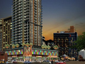 If approved, Regency Developments' Emerald Tower will soar 45-storeys in the Oliver neighbourhood. The design includes above ground parking hidden by coloured glass and a daycare space on the podium.