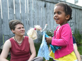 Three-year-old Nora was born in Ethiopia, then adopted by Edmonton couple Brett Kerley and Shannon Qualie.
