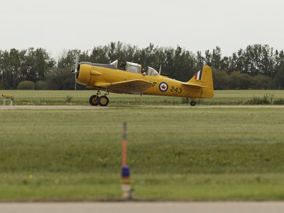 Yellow Thunder pilot David Watson and Edmonton Journal reporter Juris Graney lands in Watson's Harvard airplane from Villeneuve Airport ahead of the Edmonton Air Show in Sturgeon County, on Thursday, July 21, 2016.