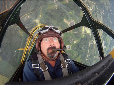 Yellow Thunder pilot David Watson in his Harvard airplane from Villeneuve Airport ahead of the Edmonton Air Show in Sturgeon County, on Thursday, July 21, 2016.
