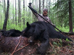 A YouTube video posted on June 5,2016 shows American hunter Josh Bowmar throwing a spear into a black bear from about 10 to 12 metres away. The hunt was near Swan Hills, about two hours north of Edmonton.