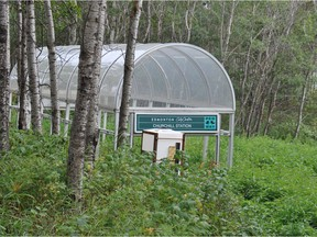 An Edmonton woman came across a Churchill LRT station pedway cover on a rural lot over 100 kilometres downstream from the city.