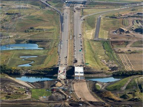 An aerial view of construction on Anthony Henday Drive bridge crossing the North Saskatchewan River in northeast Edmonton near 153  Avenue on Sept. 10, 2015.