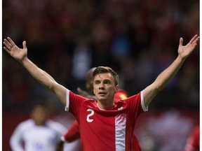 Canada's Nik Ledgerwood celebrates his goal against El Salvador during second half FIFA World Cup qualifying soccer action in Vancouver, B.C., on Tuesday September 6, 2016. Ledgerwood has re-signed with FC Edmonton for another season.