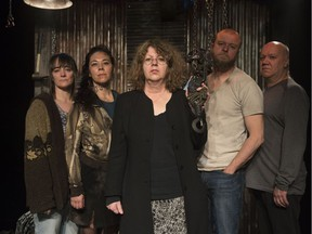 The cast of Theatre Network's Pig Girl (from left) Elinor Holt, Nadien Chu, Randy Hughson and Brian Dooley with playwright Colleen Murphy (centre).