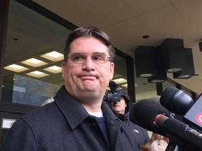 Nathan Whitling, one of Travis Vader's lawyers outside the Edmonton Law Courts Building on Oct. 31, 2016. Whitling says his team will be appealing Vader's new manslaughter convictions and seeking a new trial.