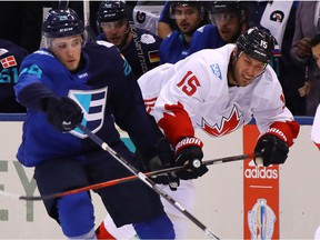 Leon Draisaitl #29 of Team Europe gets tied up with Ryan Getzlaf #15 of Team Canada during the first period during Game Two of the World Cup of Hockey final series at the Air Canada Centre on September 29, 2016 in Toronto.