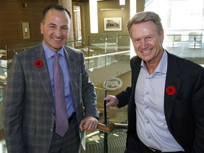 Dave Flipchuk, left, just took over as CEO of PCL Construction, replacing outgoing CEO Paul Douglas, right, who retired October 31, 2016.