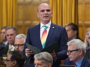 Liberal MP Randy Boissonnault rises during statements in the House of Commons, Monday June 13, 2016 in Ottawa. Prime Minister Justin Trudeau has named an Edmonton MP as his special advisor on LGBTQ2 issues.Randy Boissonnault will work with advocacy groups to promote equality for lesbians, gays, bisexual, transgender, queer and two-spirited people - a term used broadly to describe indigenous people who identify as LGBTQ.