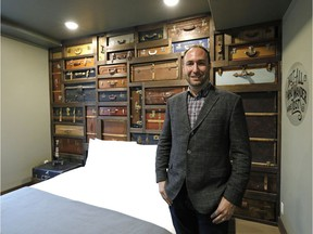 Jon Sharun , managing partner of Venexo Capital, in the suitcase room at the former Grand Hotel in downtown Edmonton, which has been converted into the boutique Crash Hotel.
