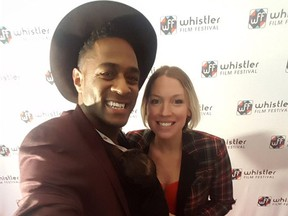 Jesse and Julia Lipscombe (and Indy) on the red carpet at the Whistler Film Festival.