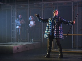 From left to right, Shannon Blanchet, Jamie Tognazzini and Braydon Dowler-Coltman star in Fortune Falls, a Catalyst production at the Citadel Theatre.