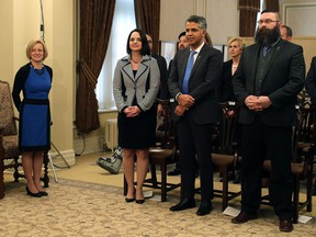 Faces of Premier Notley's cabinet shuffle this week: Danielle Larivee, Irfan Sabir and Shaye Anderson.