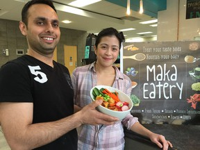 Stephanie Paras and Himanshu Motwani are co-owners of Maka Eatery at the Don Wheaton YMCA in Edmonton.