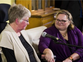 Minister Sarah Hoffman, right, with home care recipient Jaye Fredrickson, addresses how the government will improve life for Albertans whose independence is limited by physical or mental conditions on March 20, 2017 in Edmonton.