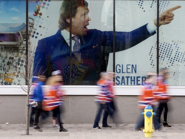 Oilers fans arrive at Rogers Place prior to the Edmonton Oilers and San Jose Sharks NHL playoff, in Edmonton Thursday April 20, 2017. Photo by David Bloom For a Jonny Wakefield story running April 18, 2017.