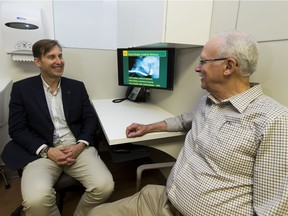 Dr. Keith Rourke (left), urologist and director of the AHS urethral reconstruction program, speaks with patient Harvey Marchand, 73, on Tuesday, April 4, 2017, in Edmonton.