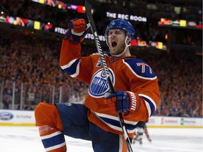 The Edmonton Oilers Oscar Klefbom (77) celebrates his game tying goal against the San Jose Sharks during third period NHL playoff action at Roger Place, in Edmonton Thursday April 20, 2017.